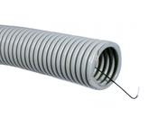 ДКС Труба ПВХ гибкая гофр. д.25мм, лёгкая с протяжкой, 50м, цвет серый